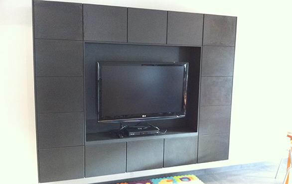 Meuble télé design gris et noir